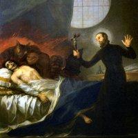 Borgia Szt. Ferenc jezsuita megátkoz egy gyónás nélkül haldokló, kárhozatra ítélt bűnöst / Francisco Goya, 1788